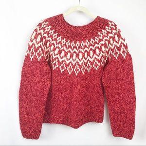 American Eagle Hand Knit Chunky Fair Isle Sweater